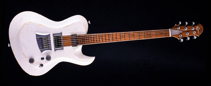 Hellcaster Rock Guitar Baritone - Players White | Cyan Guitars