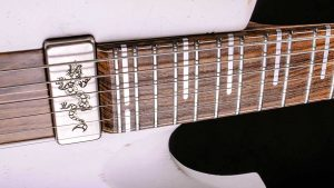 """Hellcaster - 29"""" HB - Players White - pickguard with dragon engraving"""
