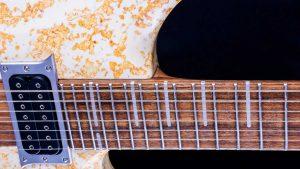 """V7 - 29"""" 7-String Bariton Gitarre - Living Colour - Griffbrett Detail"""